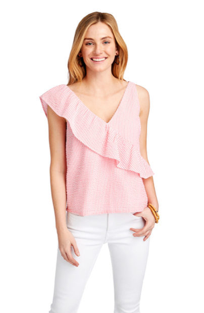 Vineyard Vines Seersucker Ruffle Top - Neon Watermelon
