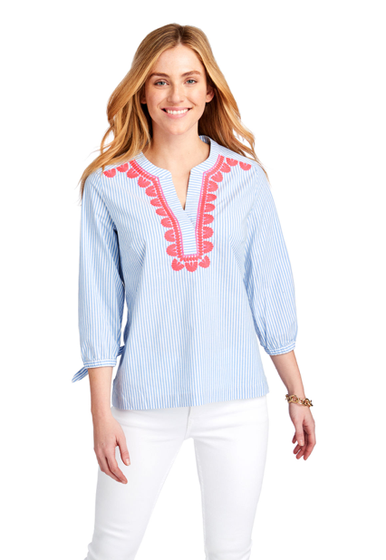 Vineyard Vines Striped Pop Embroidered Savannah Popover Top - Cornflower