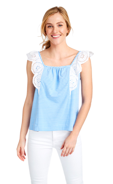 Vineyard Vines Stripe Mixed Media Flutter Sleeve Top - Cornflower
