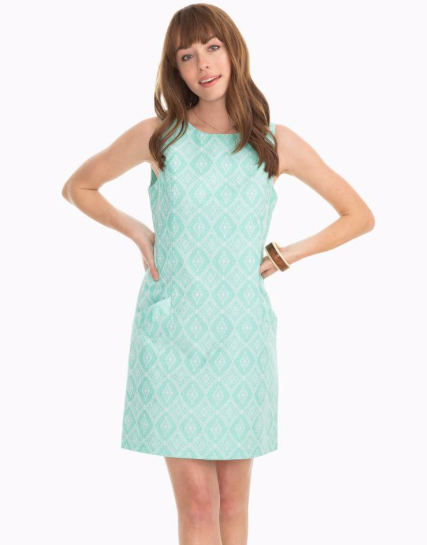 Southern Tide Paislee Ikat Jacquard Shift Dress - Bermuda Teal