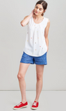 Joules Alyse Sleeveless Woven Top - White Picnic