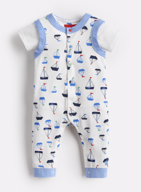 Joules Saylor Jersey Babygrow and T-Shirt Set - Drawn Boats