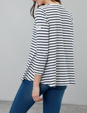 Joules Harbour Light V Neck Jersey Top - Cream Stripe
