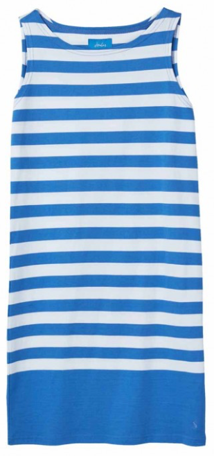 Joules Riva Sleeveless Jersey Dress - Blue White Stripe