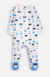 Joules Ziggy Jersey Printed Babygrow - White Drawn Boats