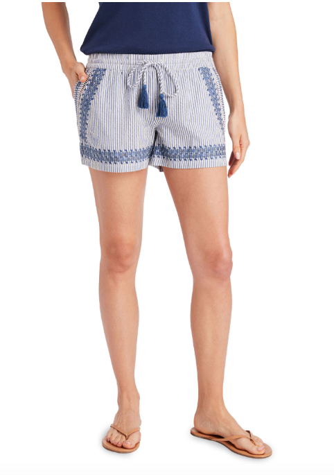 Vineyard Vines Skiff Stripe Seersucker Embroidered Pull-On Shorts