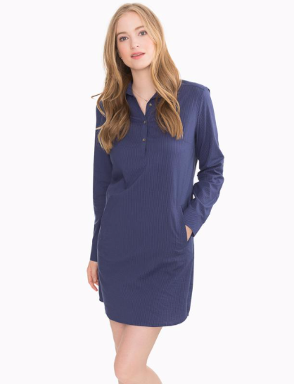 Southern Tide Alyssa Seersucker Shirt Dress - Nautical Navy