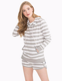 Southern Tide Soleil Striped Hoodie - Heather Grey