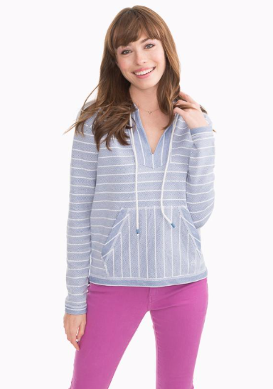 Southern Tide Paiton Striped Hoodie - Endless Blue