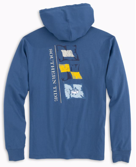 Southern Tide Long Sleeve Point Lobos Flags Hoodie T-Shirt - Seven Seas Blue