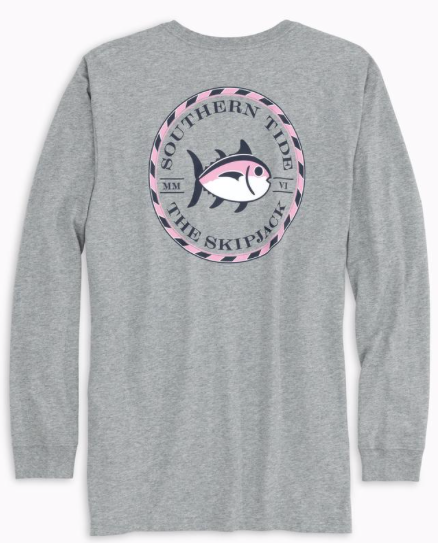 Southern Tide Long Sleeve Original Skipjack Circle T-Shirt - Heather Grey