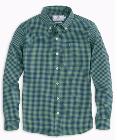 Southern Tide Boys Asilomar Intercoastal Check Shirt - Surf Green