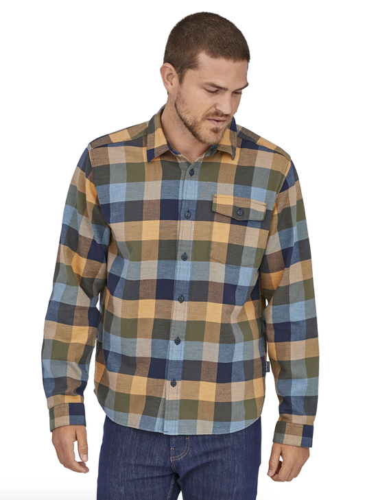 Patagonia Men's Long-Sleeved Lightweight Fjord Flannel Shirt - Unbroken New Navy