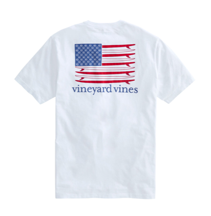 Vineyard Vines American Surfboard Flag Short-Sleeve Pocket T-Shirt - White Cap