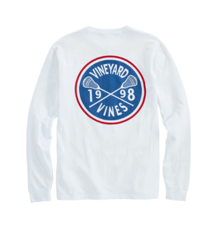 Vineyard Vine Lacrosse Crest Long-Sleeve Pocket T-Shirt - White Cap