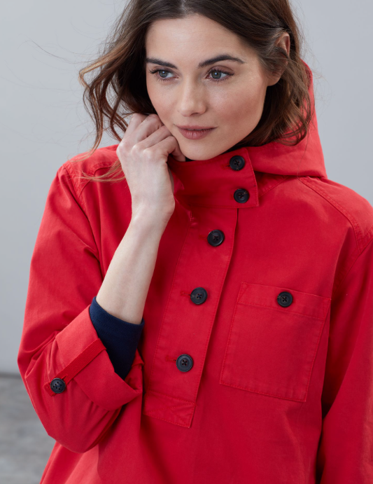 Joules Embleton Hooded Pop Over Jacket - Red
