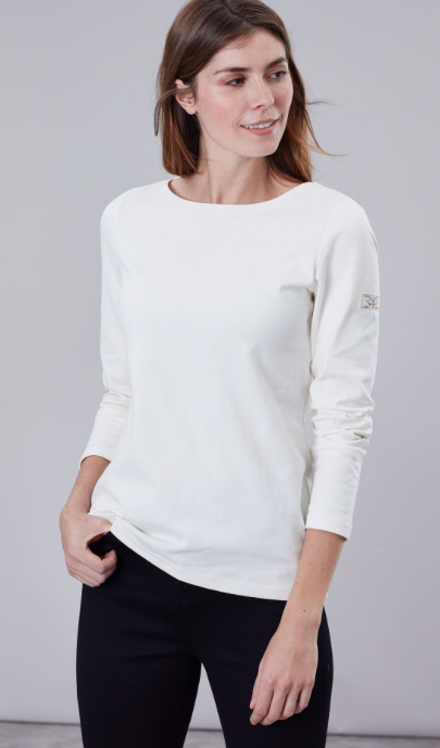 Joules Harbour Solid Long Sleeve Jersey Top - Cream