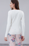 Joules Cici Long Sleeve Ribbed Jersey Top - Cream