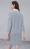 Joules Winona 3/4 Sleeve Rugby Dress - Cream Navy Stripe