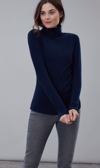 Joules Clarissa Roll Neck Jersey Top - French Navy
