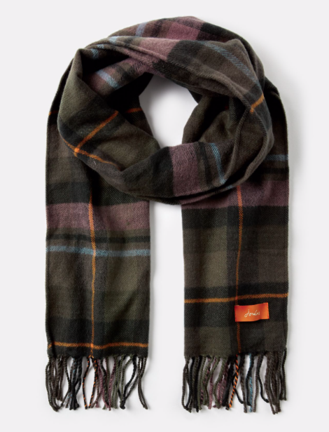 Joules Bracken Longline Check Scarf - Dark Green Check