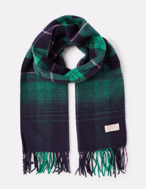 Joules Bracken Longline Check Scarf - Navy Ombre Check