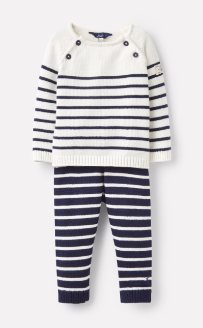 Joules George Knitted Top and Pants Set - Cream Navy