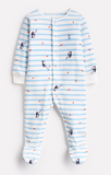 Joules Cosmo Velour Babygrow - Blue Stripe Fishing