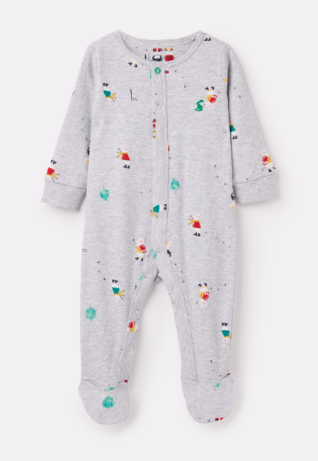 Joules Ziggy Printed Babygrow with Feet - Grey Mouse