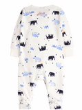 Joules Cosmo Velour Babygrow - Cream Mini Mammoths