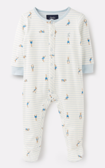 Joules Ziggy Printed Babygrow with Feet - Peter Rabbit