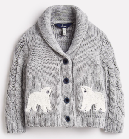 Joules Cardi Shawl Collar Cardigan - Grey Polar Bear