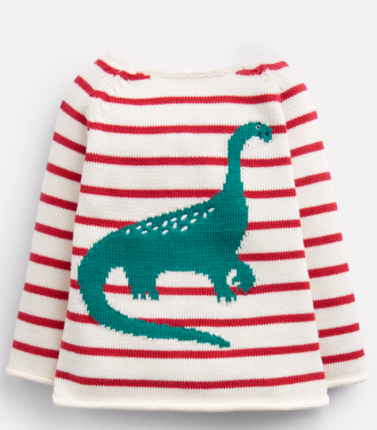 Joules Barney Intarsia Sweater - Red Stripe Dino