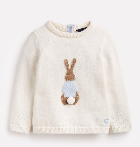 Joules Ivy Official Peter Rabbit Collection Intarsia Knitted Sweater - Cream