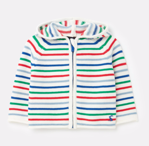 Joules Conway Zip Through Hooded Sweatshirt - White Multi Stripe