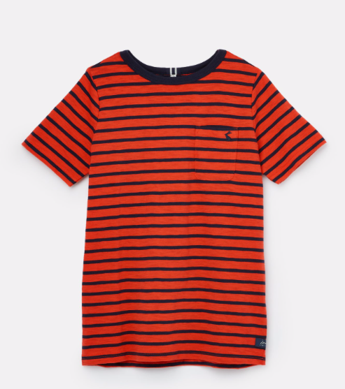 Joules Children's Laundered Stripe T-Shirt - Red Navy Stripe
