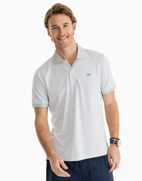 Southern Tide Jack Dinghy Striped Performance Pique Polo - Seagull Grey