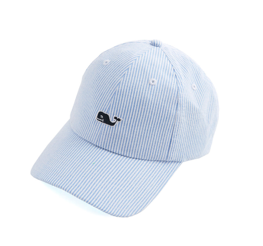 Vineyard Vines Washed Seersucker Baseball Hat - Royal Ocean