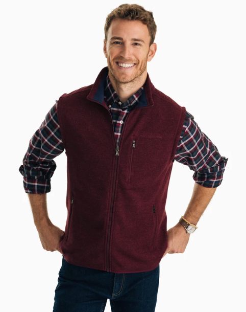 Southern Tide Samson Peak Sweater Fleece Vest - Black Cherry