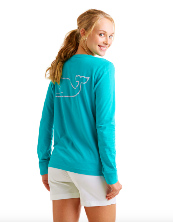 Vineyard Vines Women's Long-Sleeve Vintage Whale Pocket Tee - Fjord