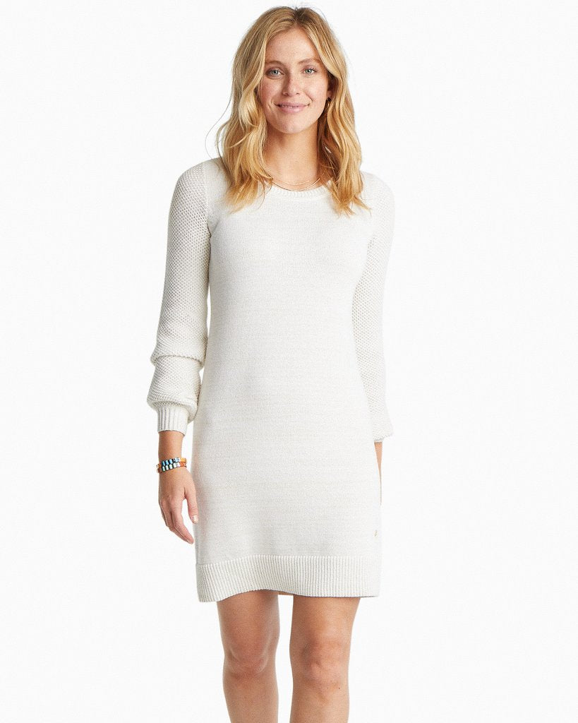 Southern Tide Adrienne Metallic Sweater Dress - Marshmallow