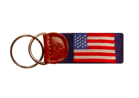 Smathers and Branson American Flag Needlepoint Key Fob