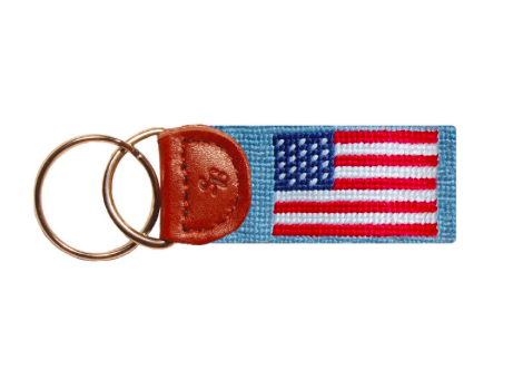 Smathers and Branson American (Antique Blue) Flag Needlepoint Key Fob