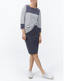 Joules Ariela Jersey Skirt - Soft Navy Stripe