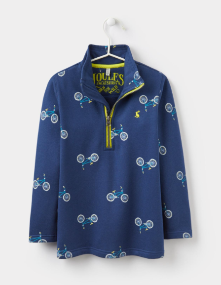 Joules Dale Half Zip Sweatshirt - Navy Bike