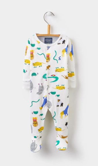 Joules Ziggy Baby Grow - Cream Zoo
