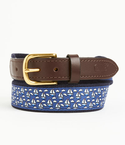 Vineyard Vines Canvas Club Belt - Sailboat
