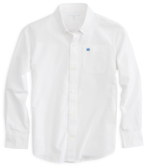 Southern Tide Boys Oxford Sport Shirt - Classic White