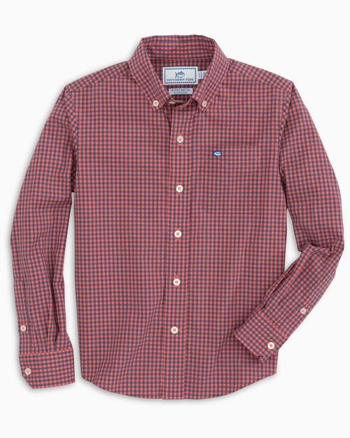 Southern Tide Boys Check Button Down Shirt - Coral Blush
