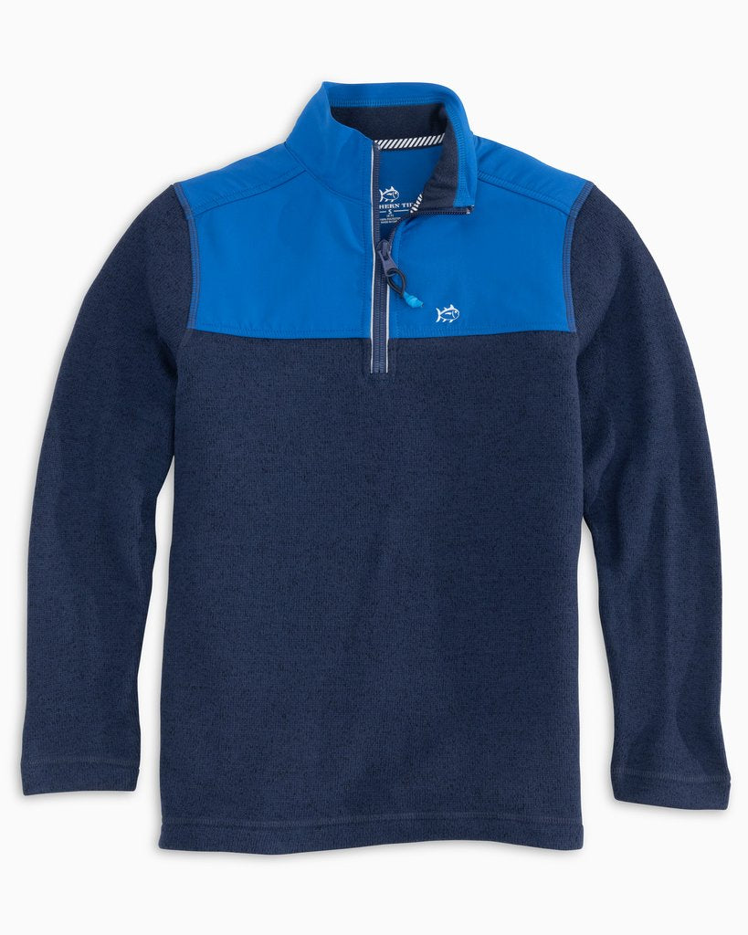 Southern Tide Youth Heathered Sweater Fleece Quarter Zip - True Navy